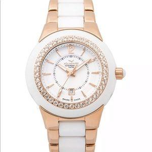 NWT Aquaswiss rose gold white ceramic &topaz watch